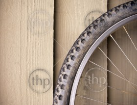Abstract composition of a used mountain bike wheel