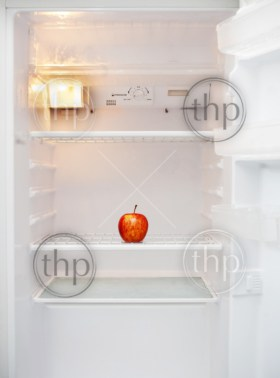 A white fridge with only a single apple inside it for diet concept