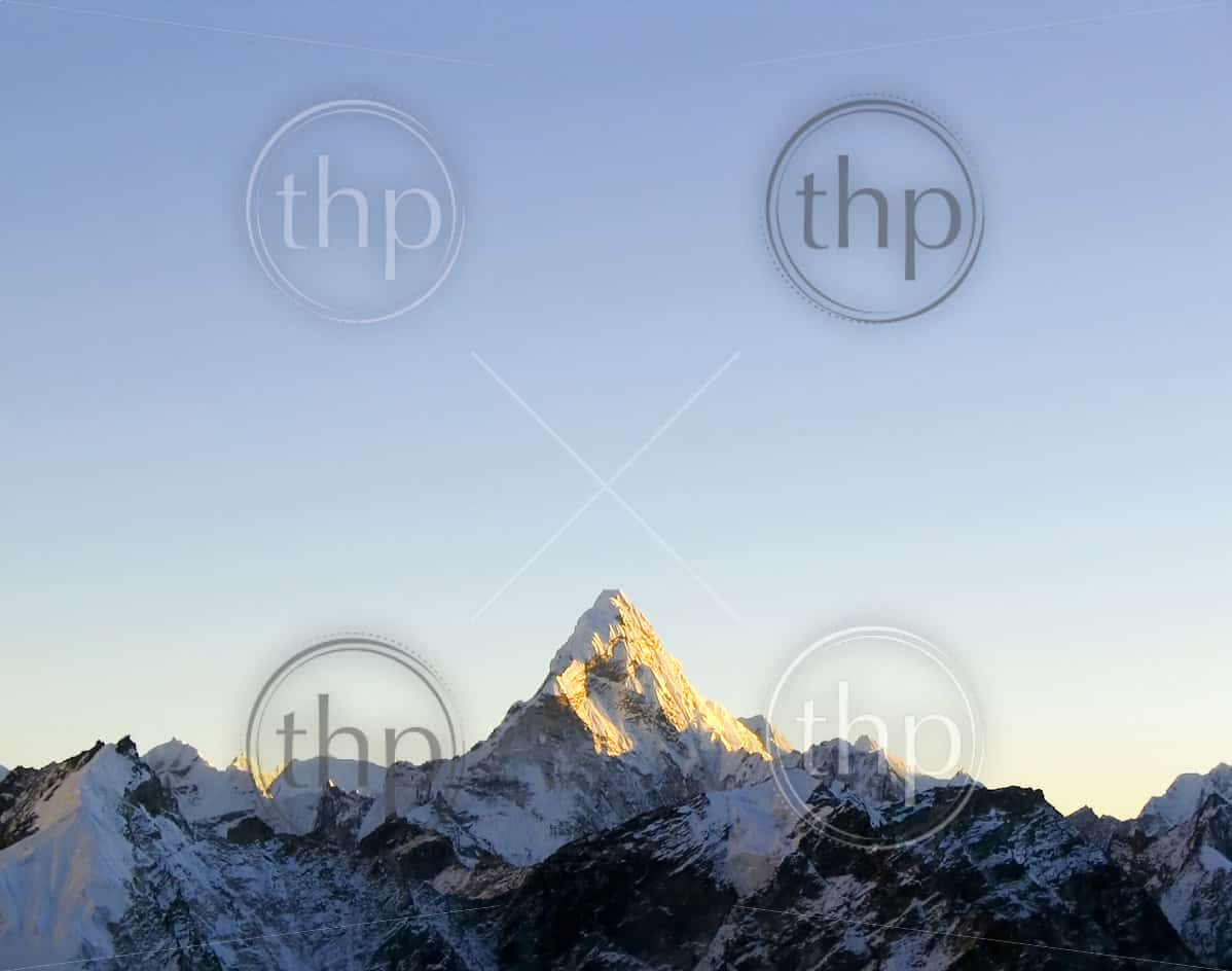 Snow capped peak Ama Dablam in the Himalaya, Nepal