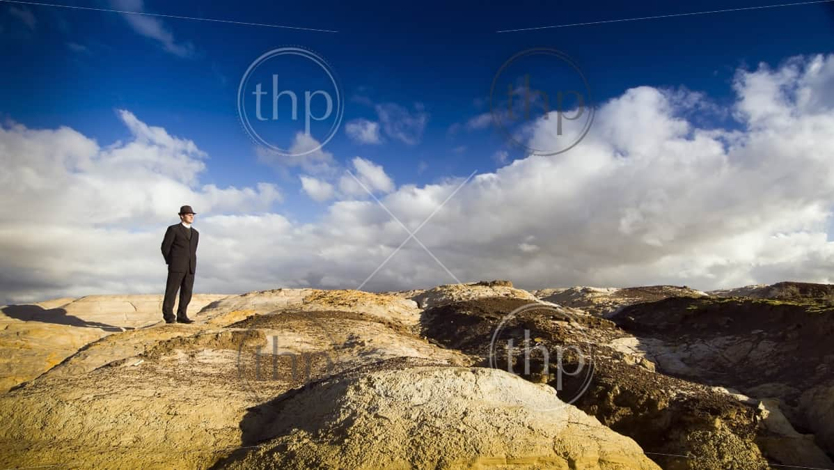 A well dressed man stands in an unusual landscape
