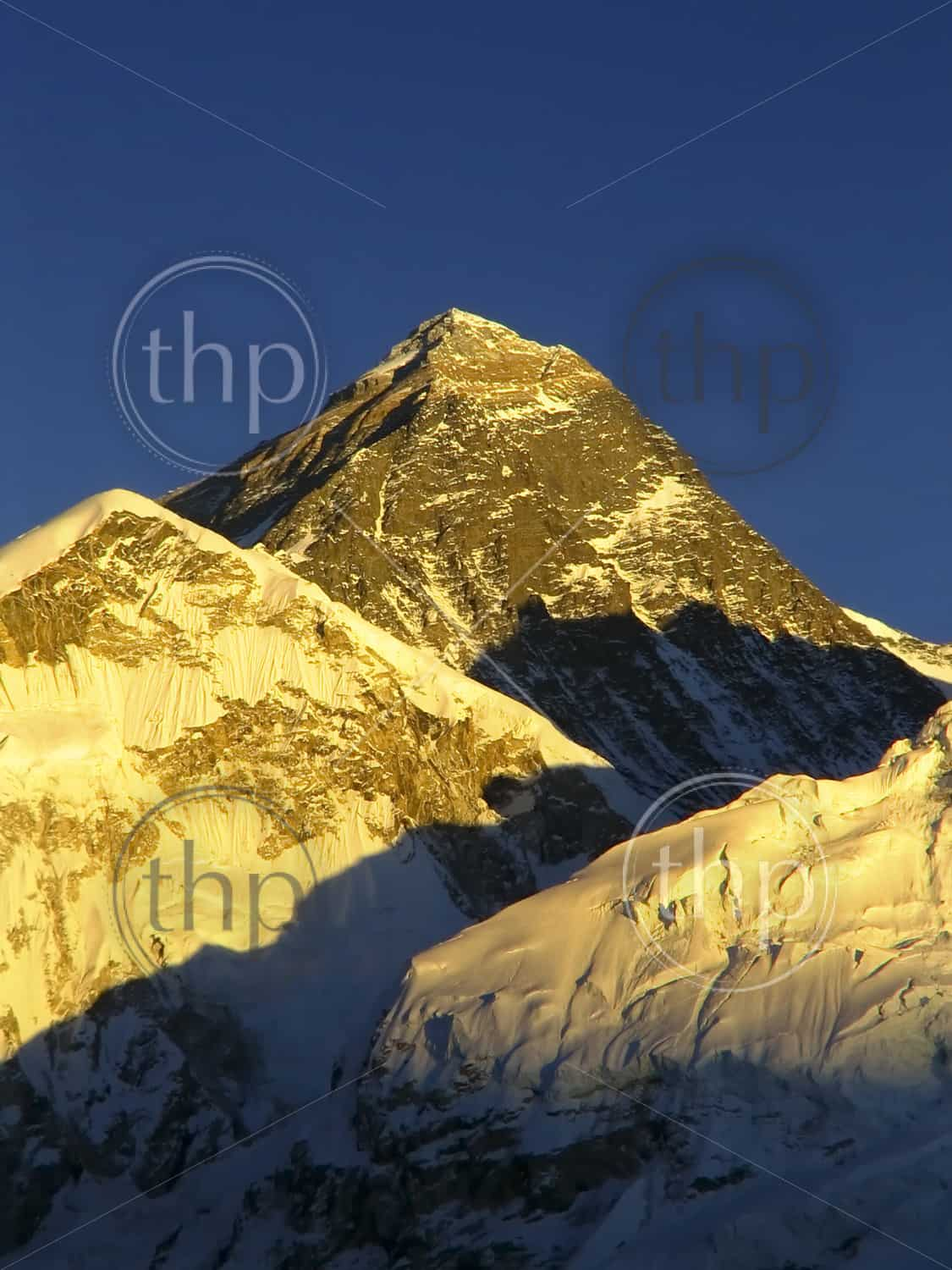 World's highest mountain, Mt Everest at 8850m, and Nuptse to the right in the Himalaya, Nepal