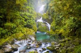 Mackay Falls waterfall in lush setting on the Milford Track, New Zealand