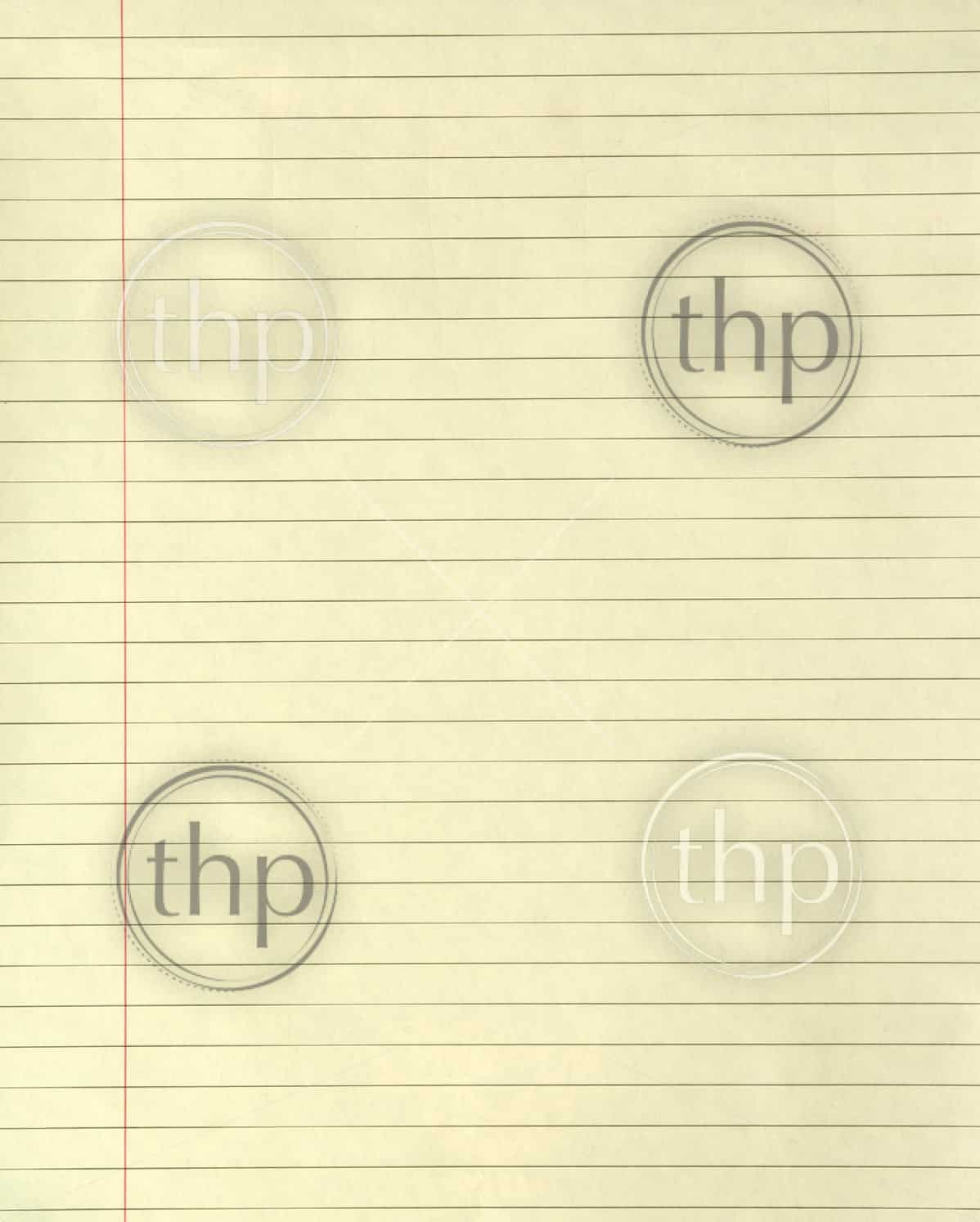 Yellow lined paper with a margin running down it