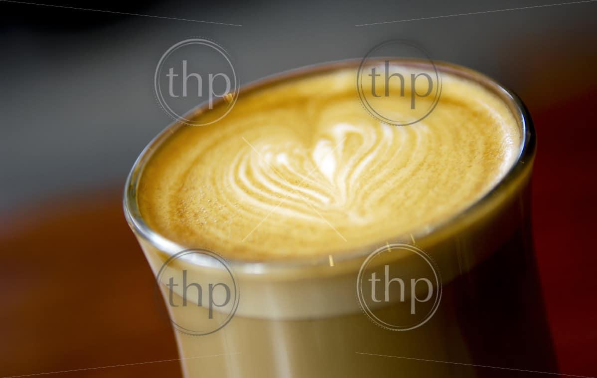 Latte art featuring a love heart
