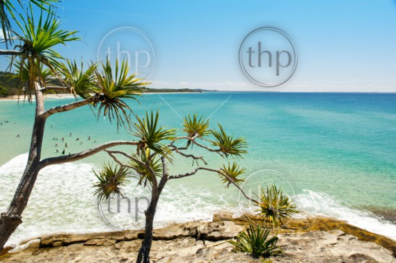 Australian beach on a hot summers day, Stradbroke Island, Queensland, Australia