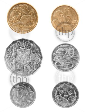 Set of Australian coin currency, including 5, 10, 20 and 50 cent coins, plus 1 and two dollars, isolated on white