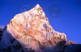 Sunset on Himalayan mountain Lhotse next to Mount Everest in Nepal