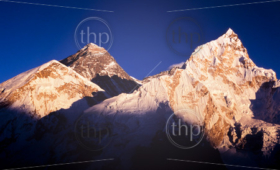 Mount Everest with clear blue sky in the Nepal Himalaya mountain range