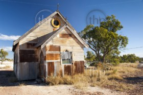 Old church in outback rural Australia under a blue sky