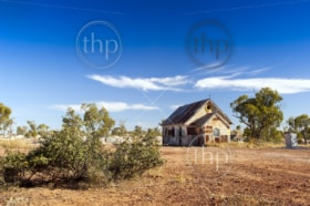 Old church in outback rural Australia under a blue sky