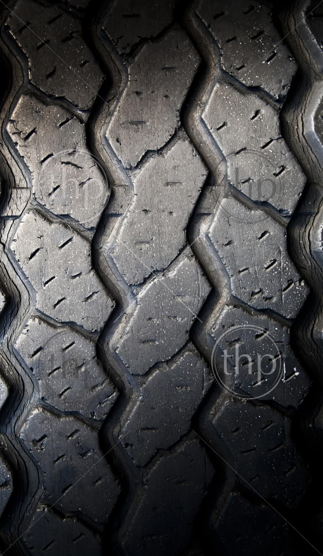 Tread patterns on old worn car tyres