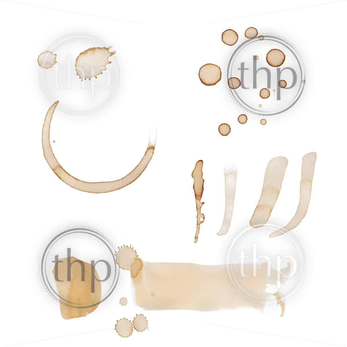 Set of coffee stains, drips and marks isolated on white