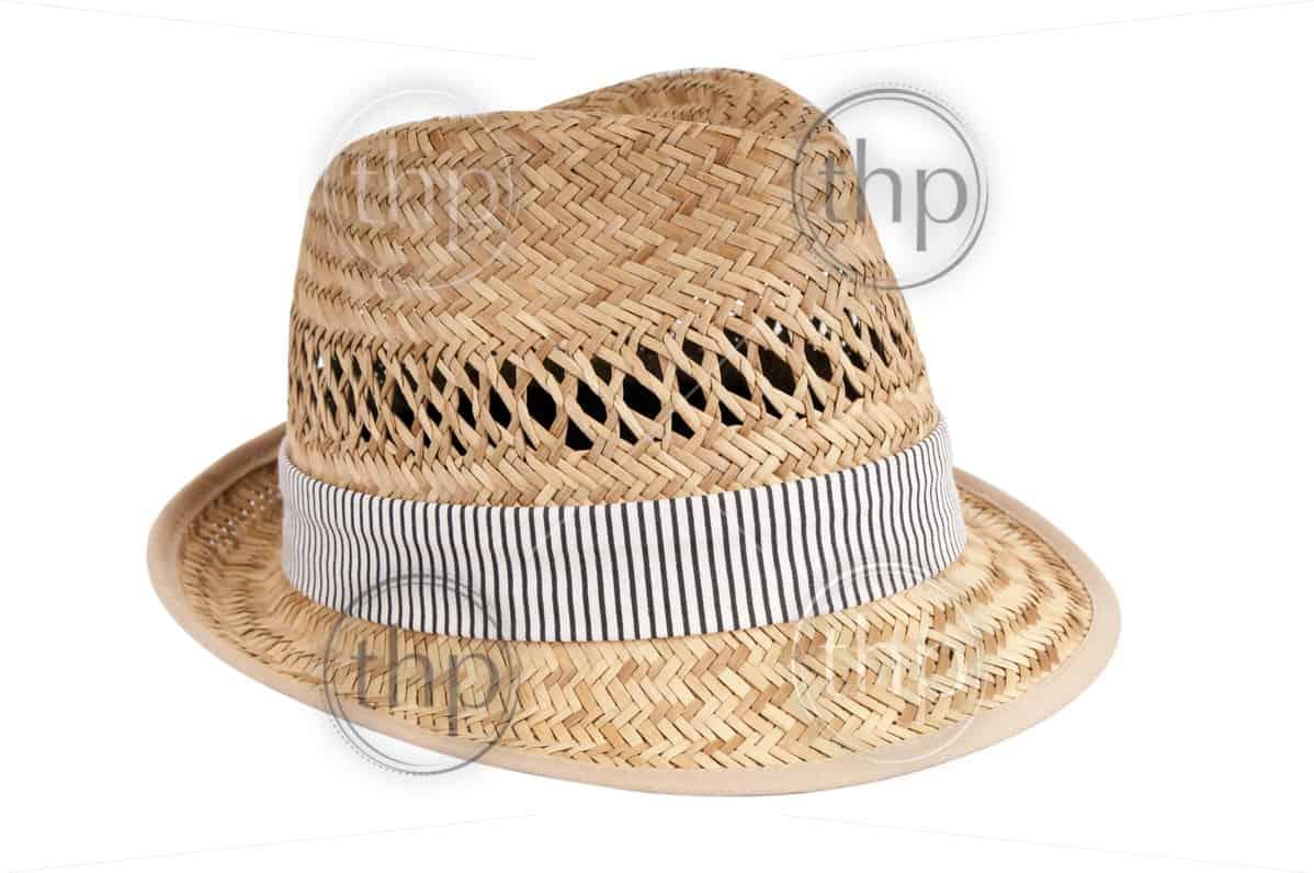 Classic fedora style hat isolated on white