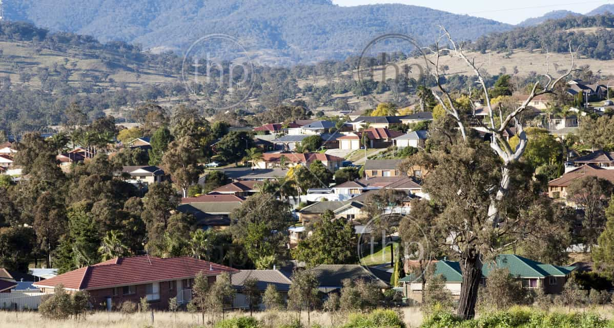 Housing in a rural town in Australia which continues to grow