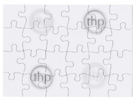 Jigsaw puzzle in white which is blank and isolated