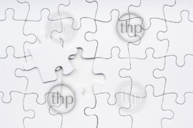 Jigsaw puzzle in white with a missing piece