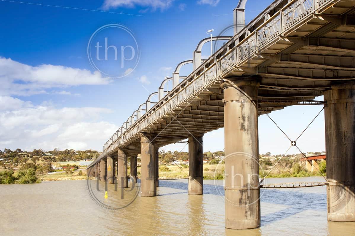 Bridge spanning the Murray River in Australia at the town Murray Bridge in South Australia