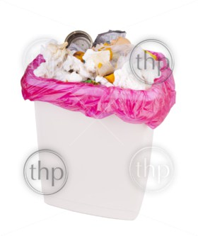 Trash can filled with rubbish and garbage, isolated with clipping path