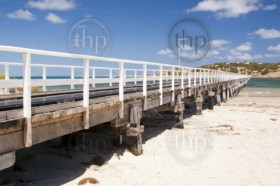 Jetty stretches out to Granite Island, tourist attraction in South Australia
