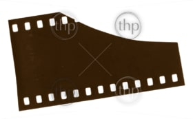 High resolution 35mm film end isolated on white with scratches and wear marks