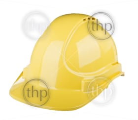 Hard hat used on construction site in yellow colour isolated on white