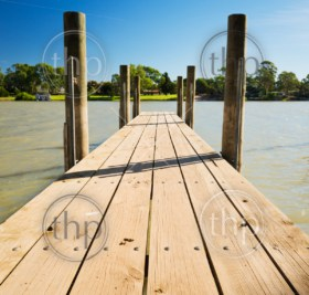 Wooden jetty along the Murray River, South Australia