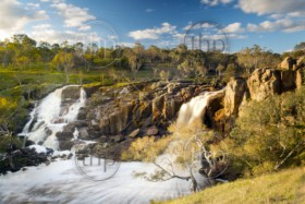 Beautiful Nigretta Falls waterfall in Western Victoria, Australia with high flow during winter time in time-lapse