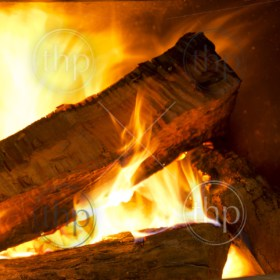 Logs of wood burning bright in a wood fire