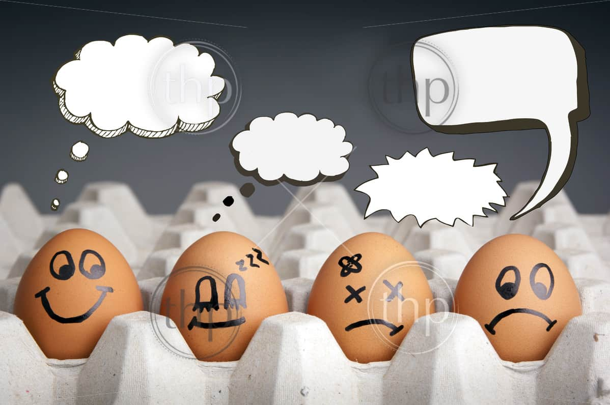 style with egg characters displaying different emotions and blank speech bubbles