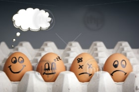 Mental health concept in playful style with egg characters displaying different emotions and blank speech bubbles