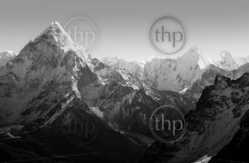 Spectacular mountain scenery on the Mount Everest Base Camp trek through the Himalaya, Nepal in black and white