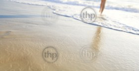 Shallow focus on sand with a woman's feet walking along the beach in the waves