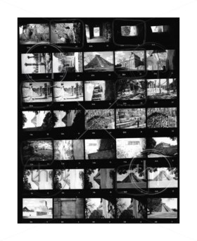 Contact sheet of old black and white film negatives on traditional photo paper