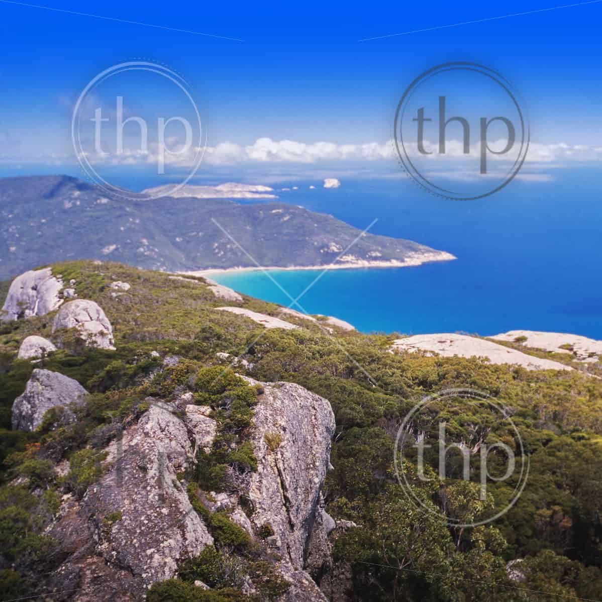 Wilsons Promontory, the most southerly point on the Australian mainland, with clear blue water