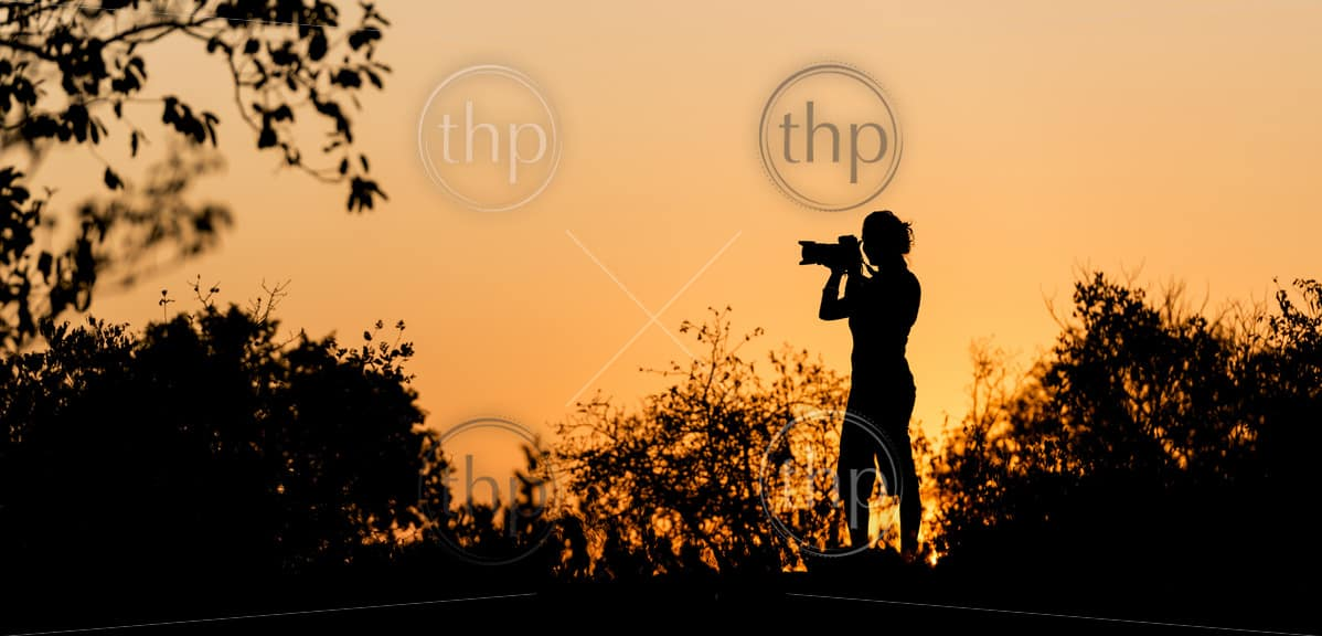 Photographer silhouetted against a golden sunset sky in Africa