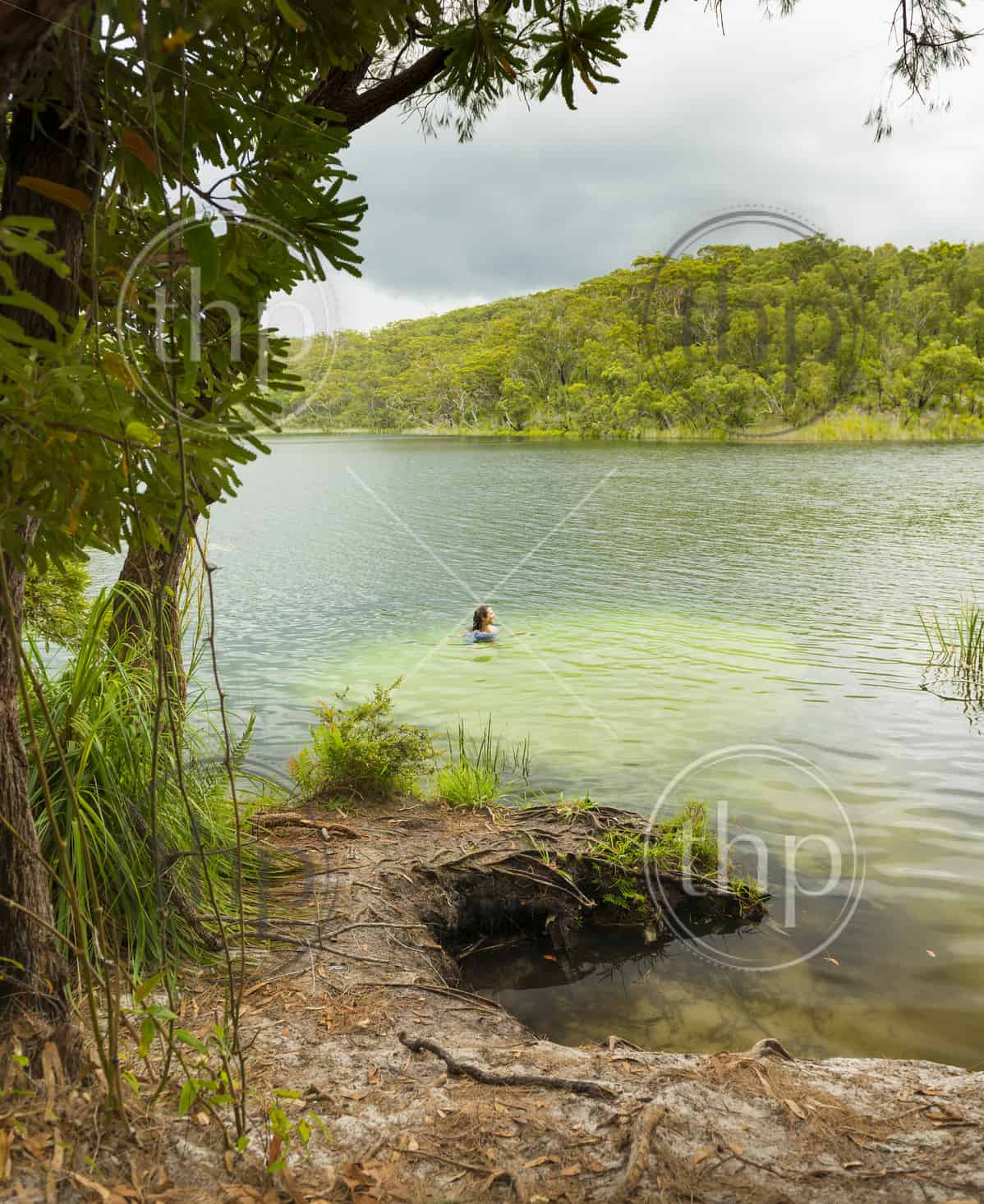 Woman swimming in the perfect fresh water swimming hole Blue Lake on North Stradbroke Island, Queensland, Australia
