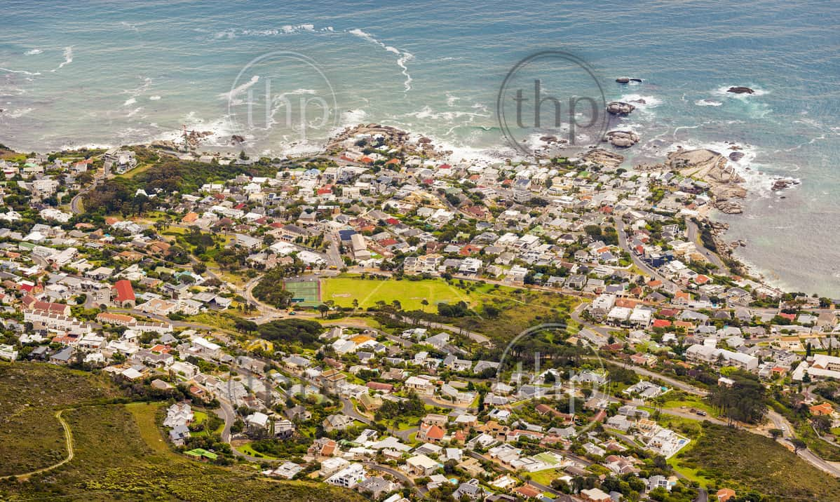 Aerial View of Camps Bay from Table Mountain in Cape Town, South Africa