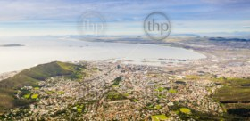 Panoramic view of Cape Town from Table Mountain in South Africa