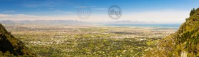 Panoramic view of False Bay from Table Mountain in Cape Town, South Africa