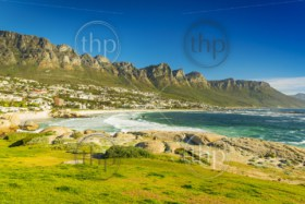 Blue skies over Camps Bay in Cape Town, South Africa