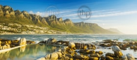 Panorama of Camps Bay in Cape Town, South Africa