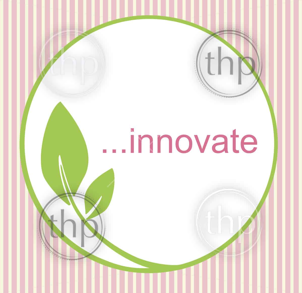 Fresh innovative logo with green circle and leaf, creating an organic, natural feel