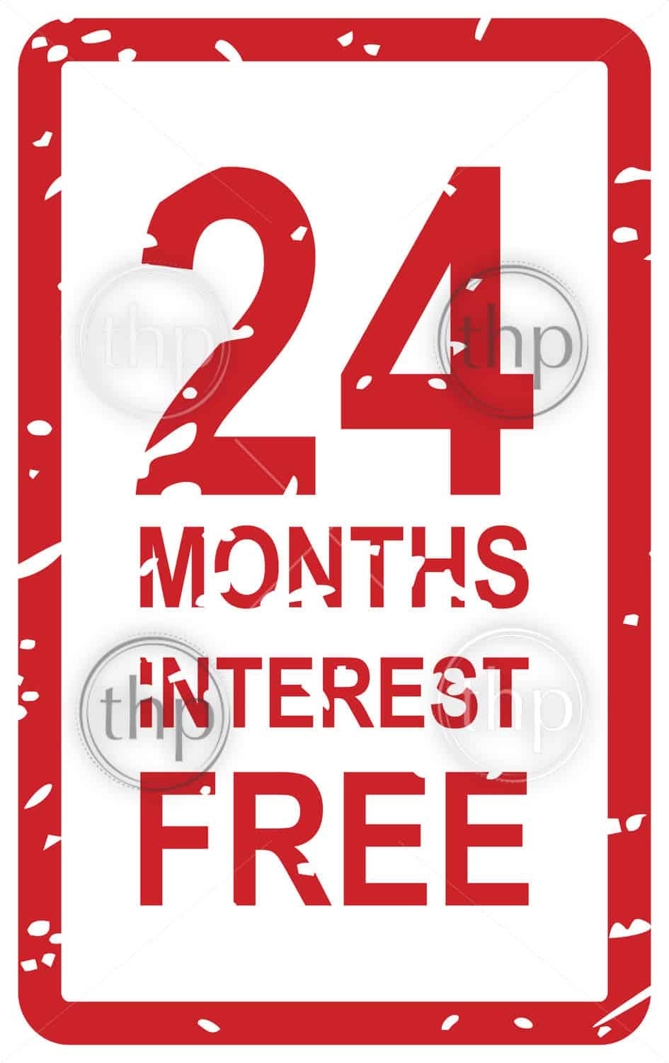 Red rubber stamp vector for 24 months interest free business concept