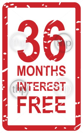 Red rubber stamp vector for 36 months interest free business concept