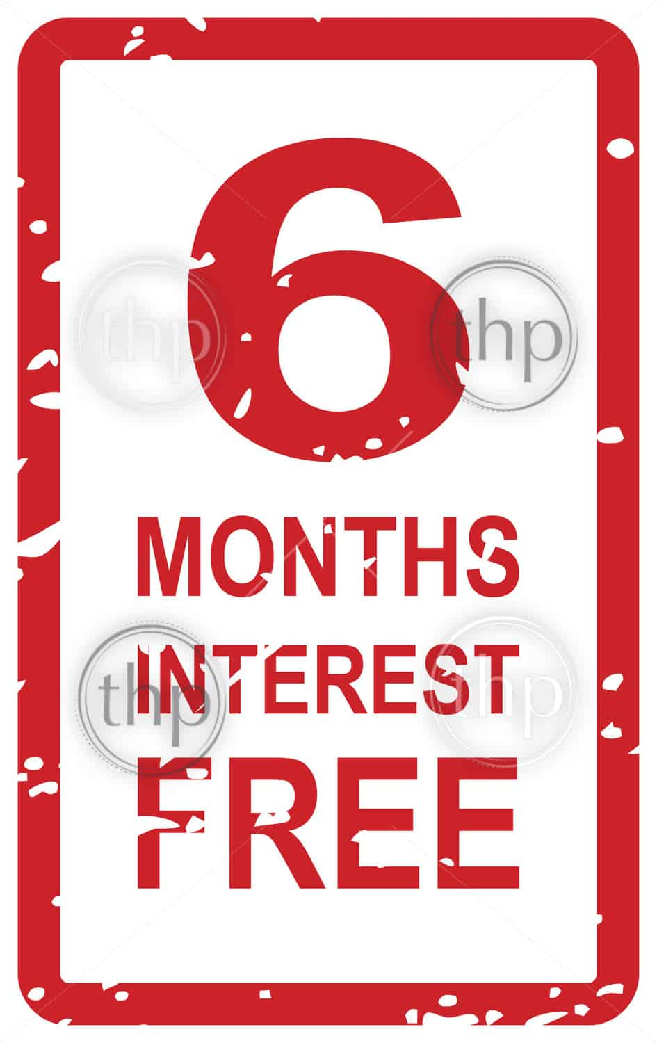 Red rubber stamp vector for 6 months interest free business concept