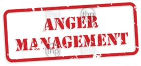 Anger management red rubber stamp vector for mental health concept