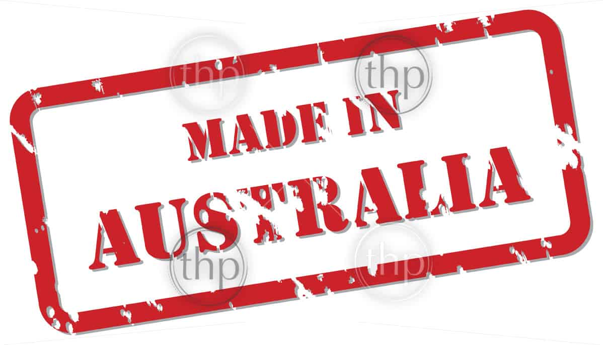 Red rubber stamp vector of Made In Australia