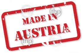 Red rubber stamp vector of Made In Austria