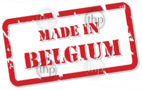 Red rubber stamp vector of Made In Belgium