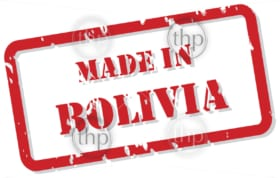 Red rubber stamp vector of Made In Bolivia